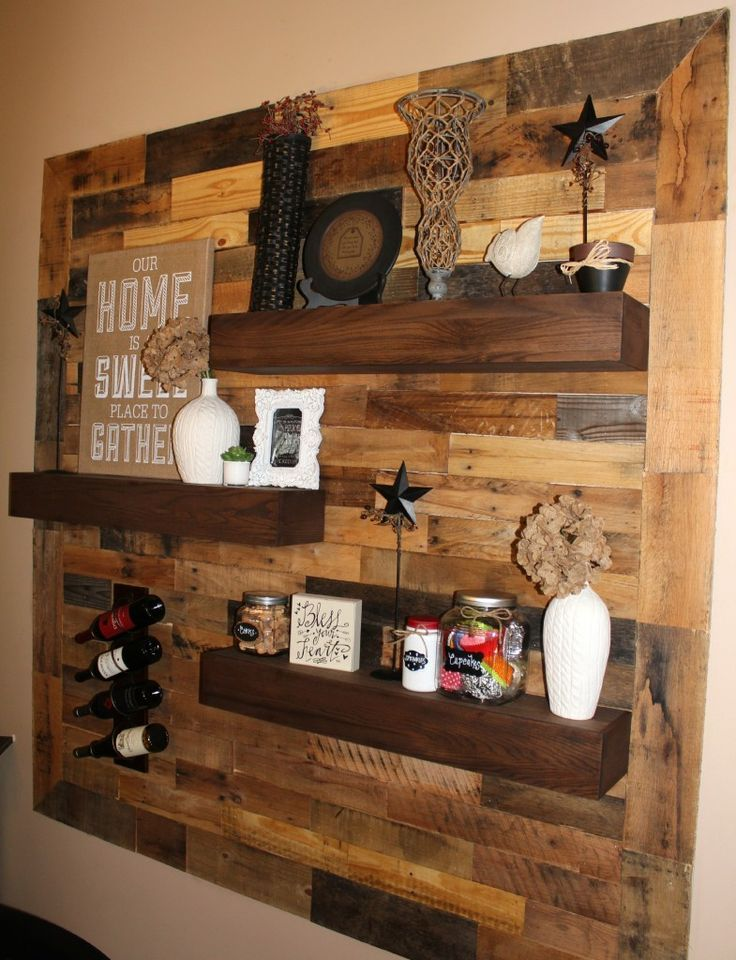 Dining room remodel pallet wall floating shelves for Dining room wall picture ideas