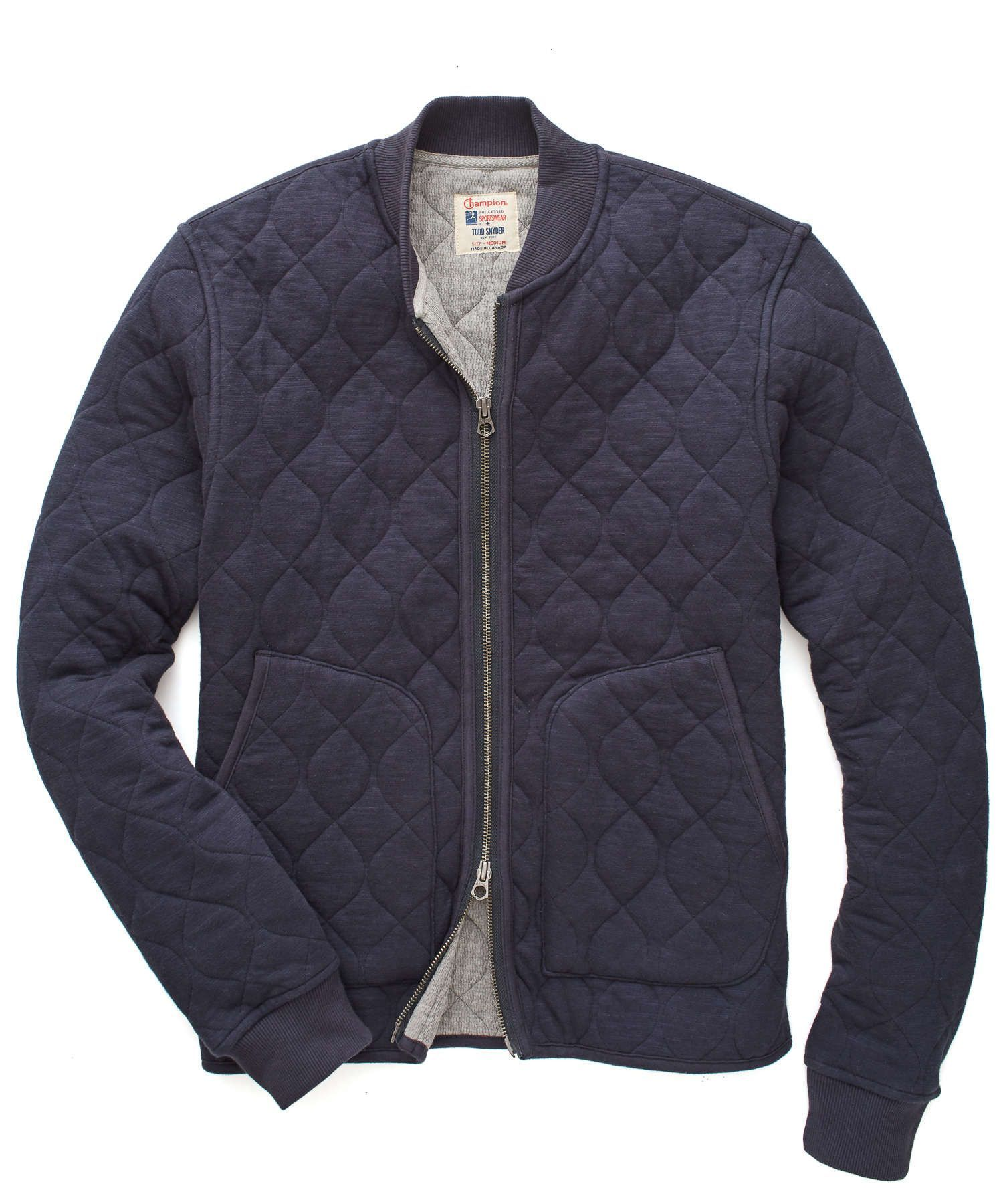 Quilted Bomber Jacket In Navy Quilted Bomber Quilted Bomber Jacket Todd Snyder Champion