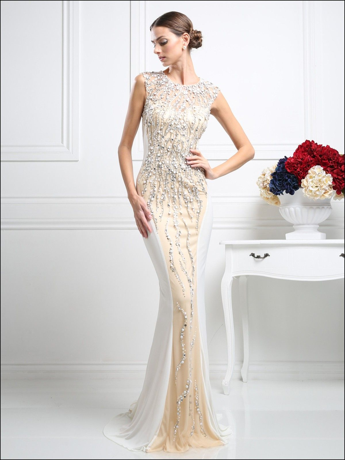 White Beaded evening Gown | Dresses and Gowns Ideas | Pinterest ...