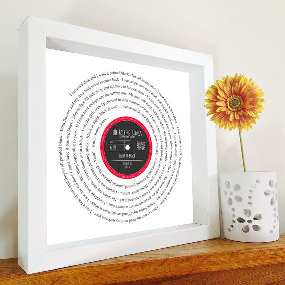 30th Birthday Gift Personalised song lyrics Print Vinyl record Valentines Day