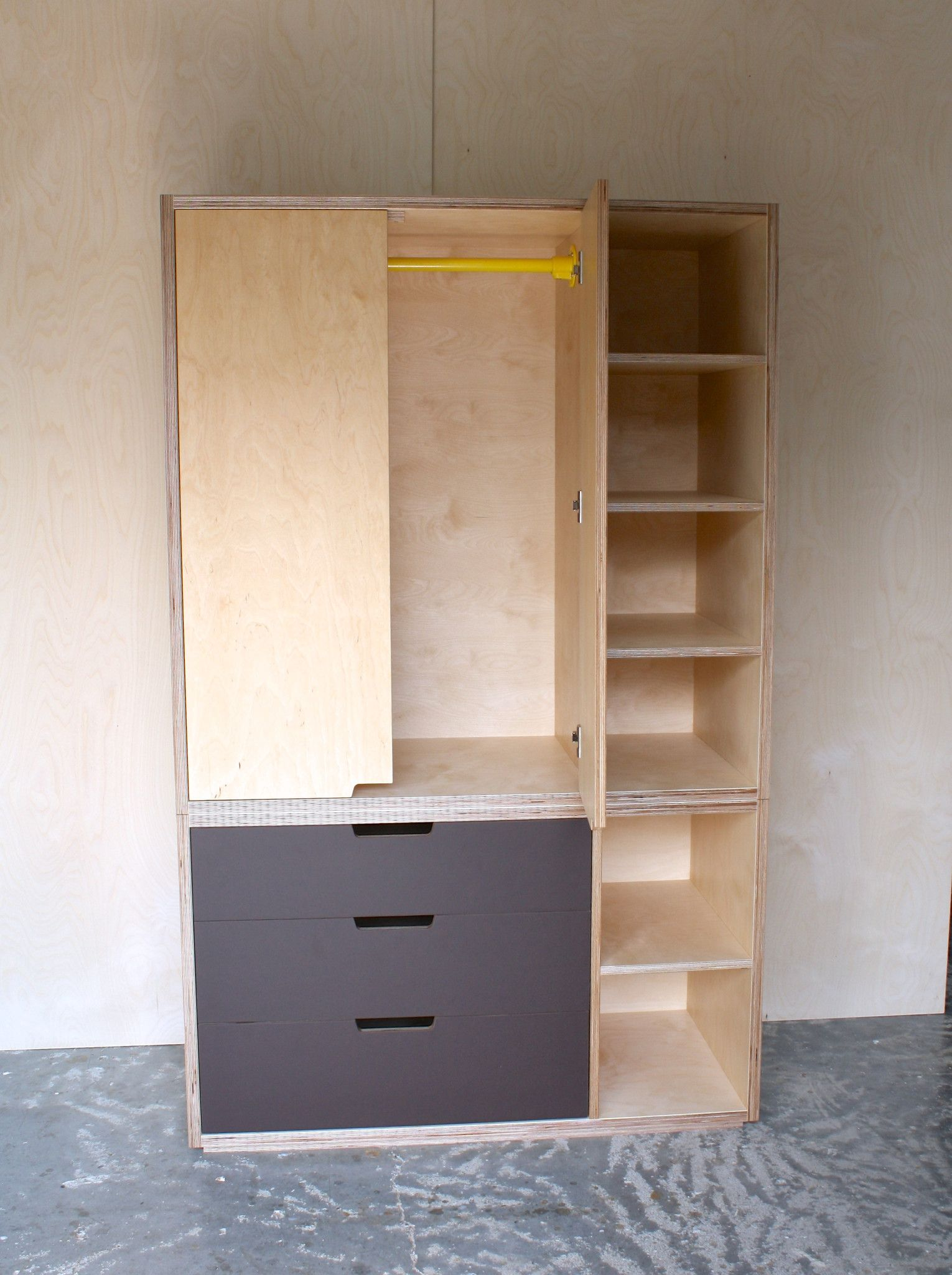 Birch Plywood Free Standing Wardrobe With Open Shelving And A Cheeky Little  Pop Of Colour With