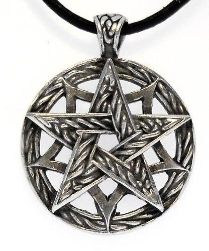 CELTIC PENTAGRAM PAGAN Pewter Pendant Leather Necklace