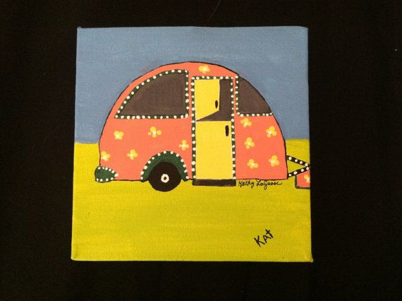 Original acrylic on canvas Little Campers set of by barnyardstudio, $18.00 for single