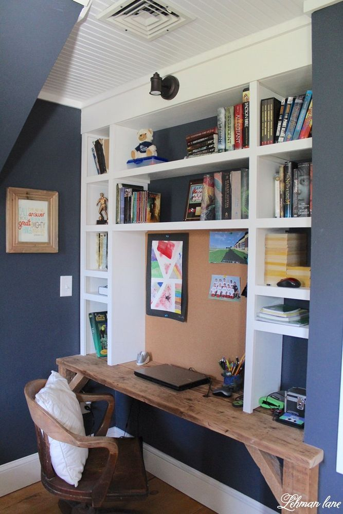 Navy Boys Bedroom | Built in desk, Boys desk, Bedroom desk