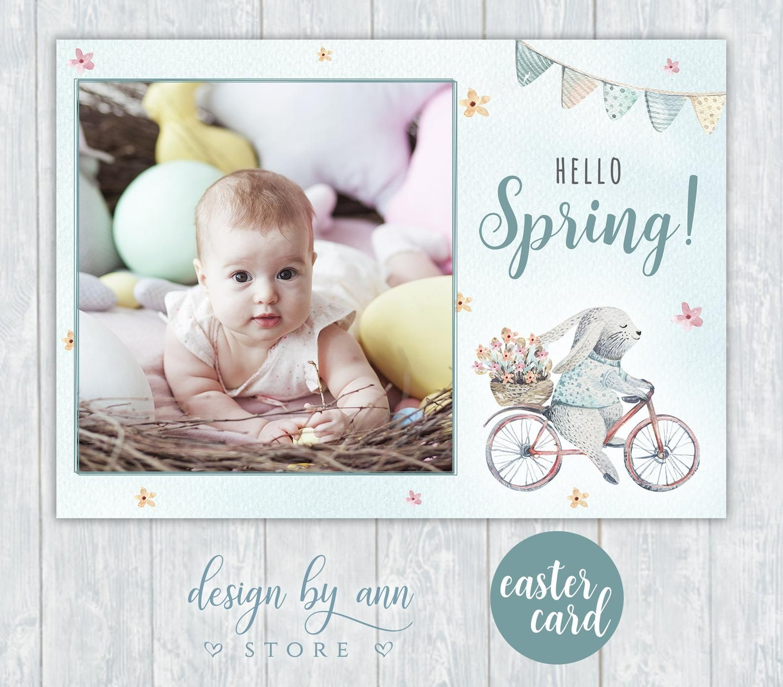 Easter card template for photographers hello spring card