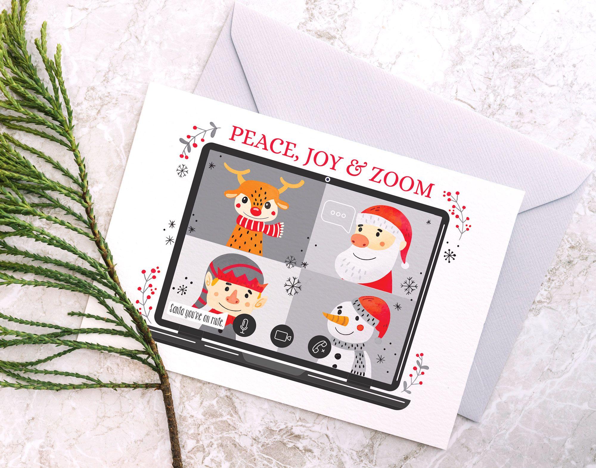Peace Joy Zoom Printable Christmas Card Social Distancing Etsy Christmas Cards Printable Christmas Cards Printable Cards