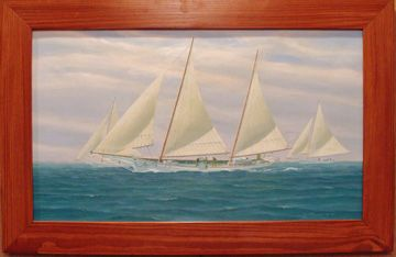 """""""Skipjacks & Bugeye"""" by Jim Bolland. Original oil on canvas by New Zealand artist Jim Bolland titled """"Skipjacks & Bugeye"""" captures the famous Chesapeake Bay working oyster boats, the last of her kind under full sail. Custom pine frame measuring 26 3/4 X 41 1/2 inches overall."""