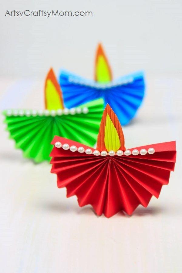 Diwali Craft Ideas For Kids Part - 27: Accordion Fold Diwali Paper Diya Craft