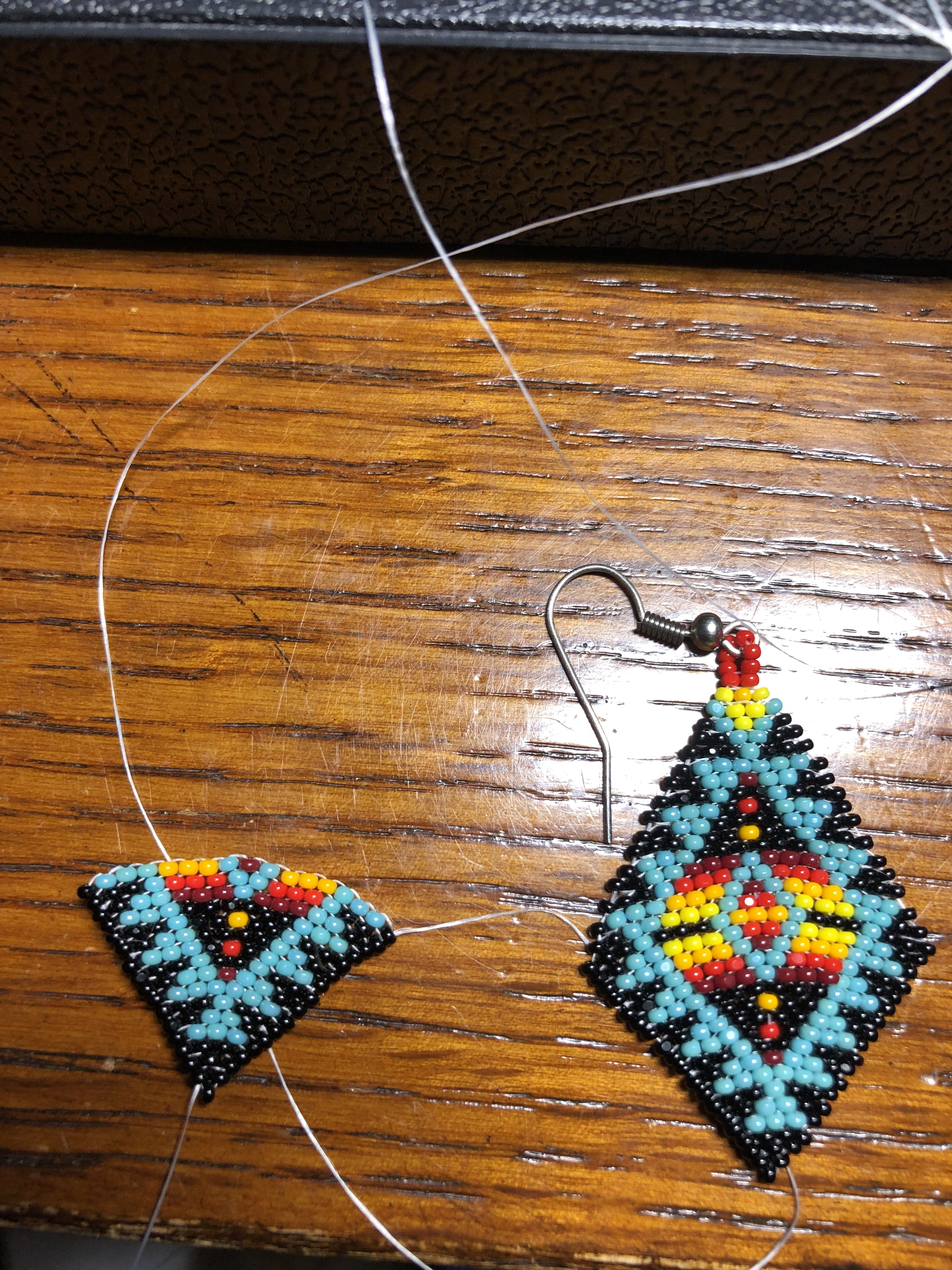Earrings in the making brick stitch bead indian beading