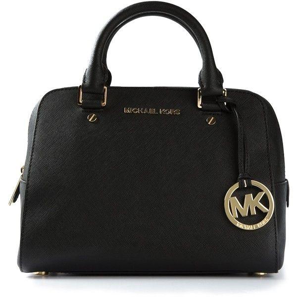 MICHAEL MICHAEL KORS logo fob bowling bag ( 350) found on Polyvore ... 7a07f71ca6f6c