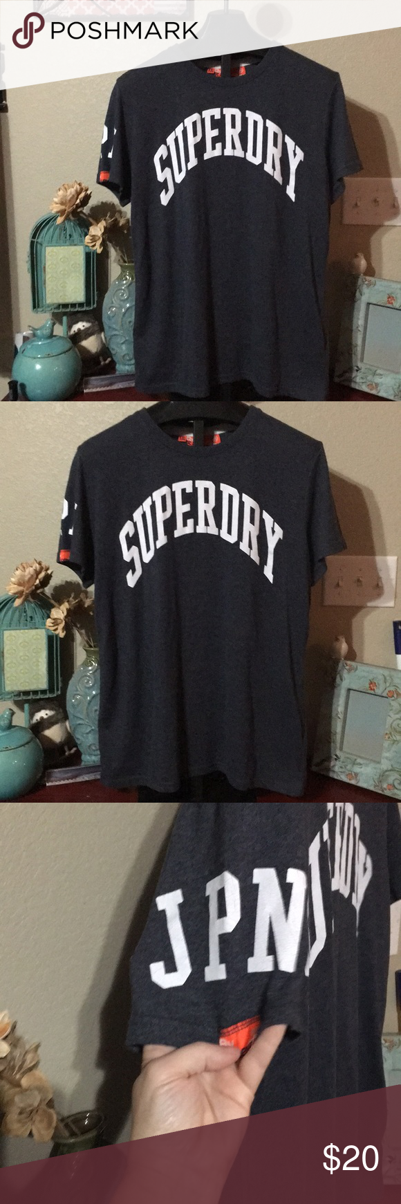 9c186462 By Superdry men's XXL By Superdry Tag size: XXL Condition: preowned Color:  Gray Fabric: 55% polyester 45% Cotton Features: soft T-Shirt Measurements  Armpit ...
