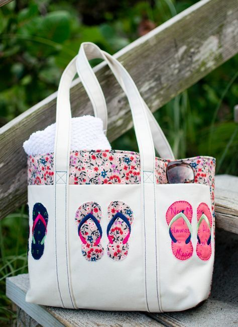Summer Flip Flop Tote  Free Pattern  Embroidery Design
