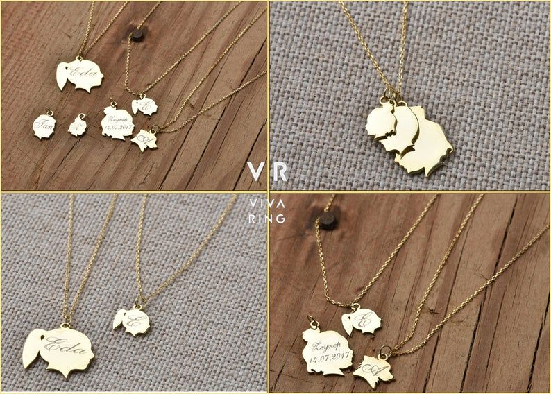Custom Children Silhouette Necklace Adoption Necklace Personalized Mother Daughter Necklace Family Necklace