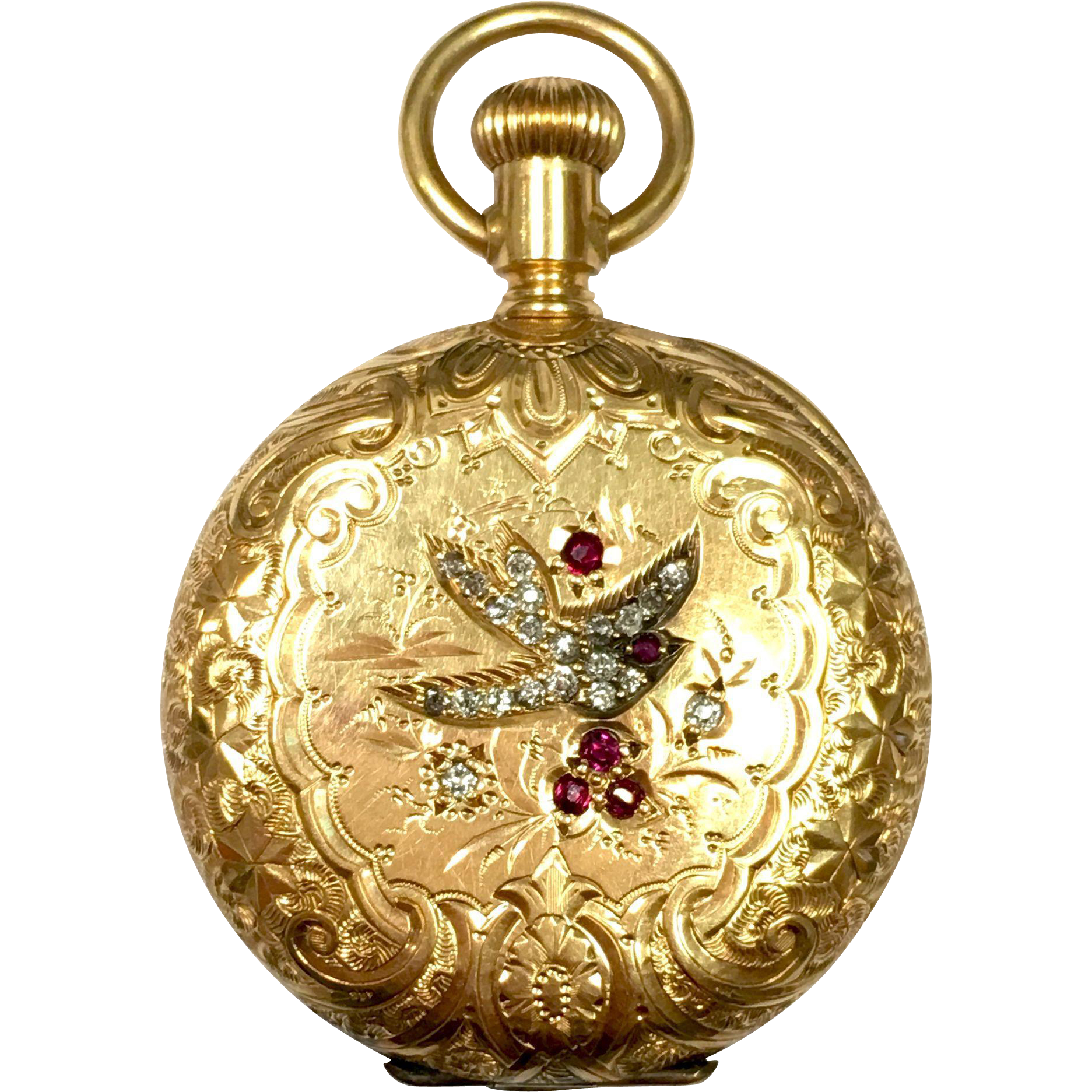Vintage Elgin 14k Yellow Gold Pocket Watch With Diamonds And Rubies Relojeria