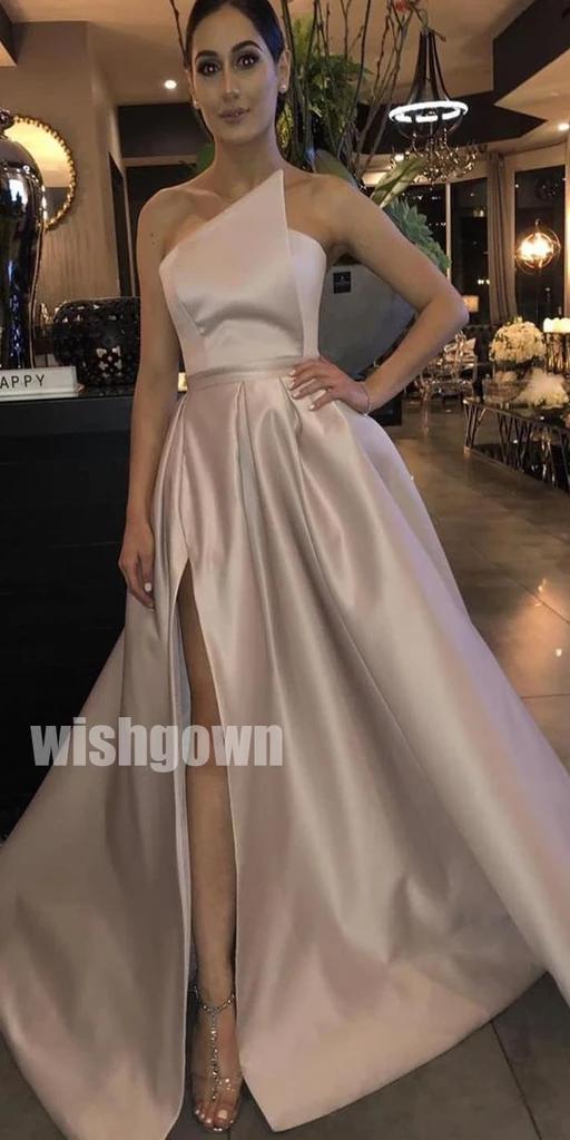 Elegant Side Slit Simple Cheap Long Prom Dresses PG1121
