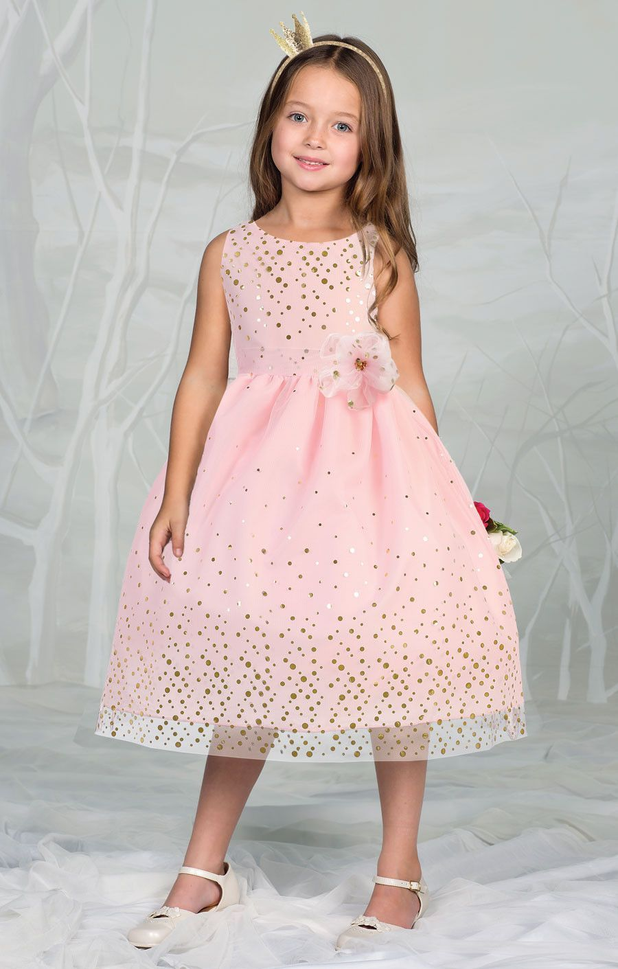 Mesh Flower Girl Dress with Pin-on Bow | bodas, primera comunión, 15 ...