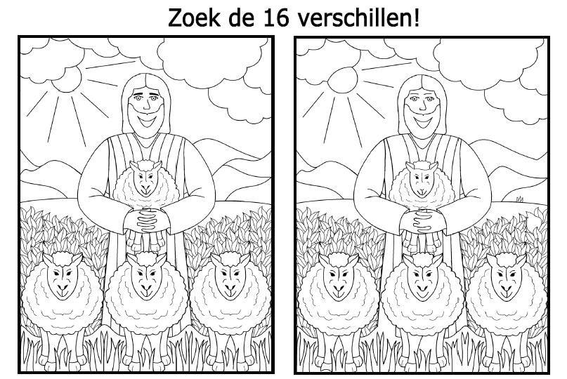 Christelijke Kleurplaten Discipelen De Goede Herder Zoek De Verschillen Bijbelse Puzzels