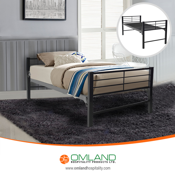 The Military Grade Platform Beds feature heavy duty steel construction, made from commercial steel that is rustproof with an epoxy powder coated finish.  #militarybed #bedplatform #metalbed #steelbed #omland #omlandhospitality