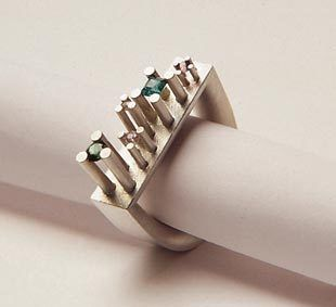 "ring ""Manhattan"" silver, tourmalines / Sabine Hauss. I like how stones are set"