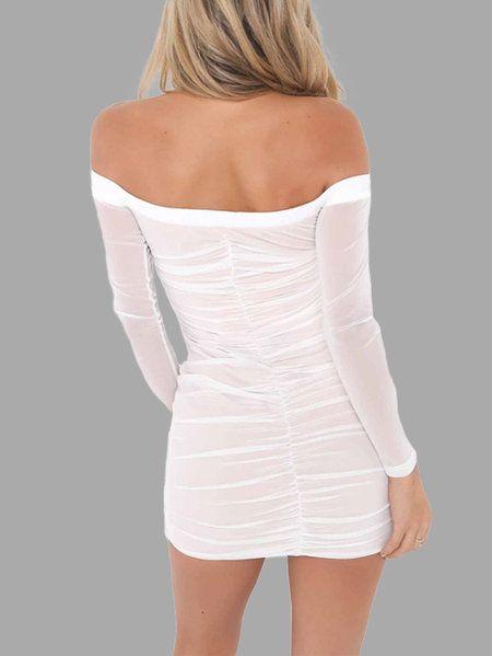 White Net Yarn Pleated Off Shoulder Bodycon Mini Dresses