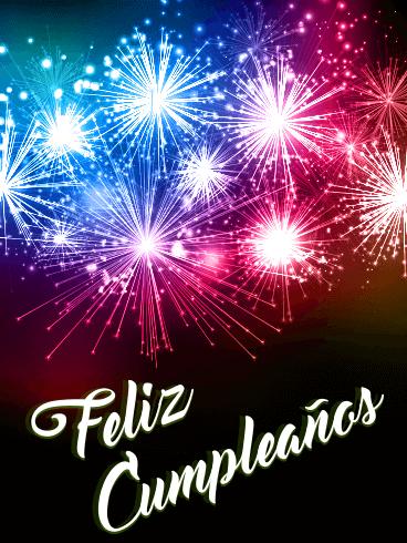 Happy Birthday Fireworks Card In Spanish