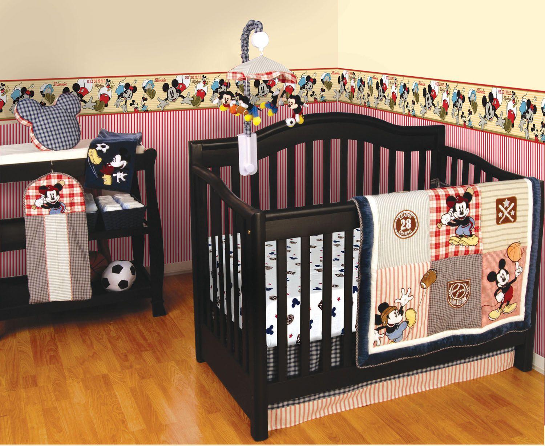 Empapelado Mickey Vintage Papel De Parede Baby Crib Bedding Sets Baby Boy Rooms Baby Boy Nursery Sports