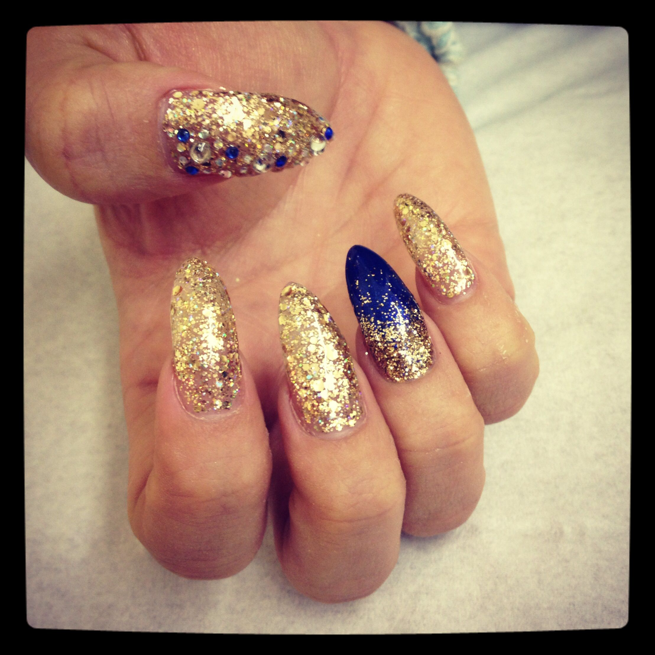 Gold For Prom Nail Ideas: Gold And Royal Blue Glitter And Diamonds