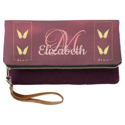 Monogram chic burgundy with faux gold angel wings clutch