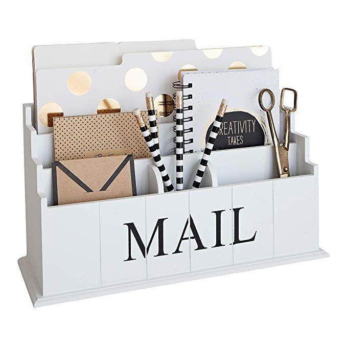 Amazon Com Blu Monaco White Wooden Mail Organizer 3 Tier White