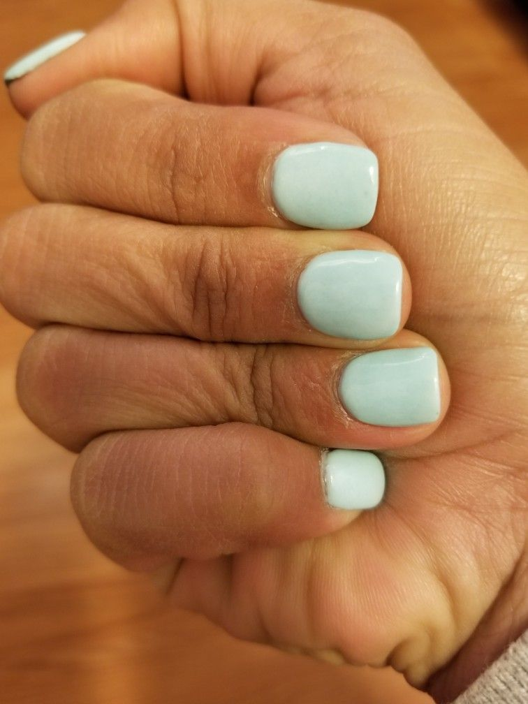 Dip Powder, Short Nails, Light Blue | Manicures/Nails in ...