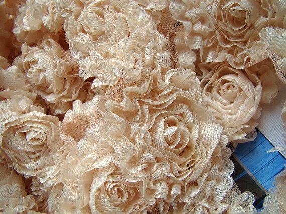 Ajuste elegante rosetón de gasa, roseta shabby guarnecido, novia tela, tela de boda, Telón de fondo de fotografía, ramo