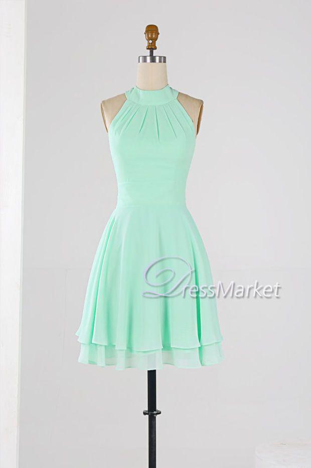 d567b574ed8 Mint green high coller homecoming dress,Knee length sleevesless ...
