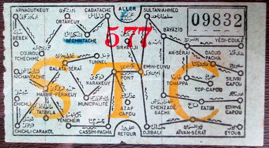 Historical Map: Société des Tramways de Constantinople Tram Ticket ...