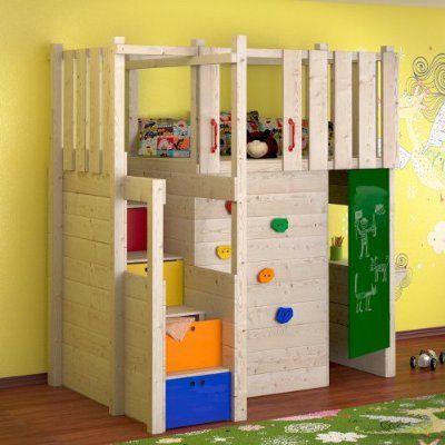 Indoor spielturm hochbett spielbett kleiderschrank podest - Klettern im kinderzimmer ...