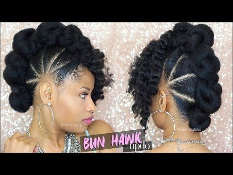Bad Azz Bun Hawk Updo Natural Hair Tutorial Youtube Braids