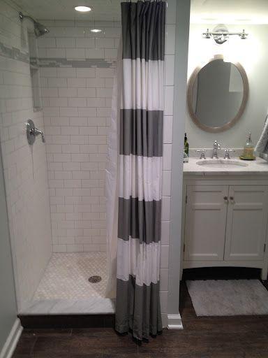 Positano S Bathroom From Ths Basement Bath With White Subways And Laticrete Silver Shadow Silv Mit Bildern Kleines Bad Mit Dusche Kleine Badezimmer Badezimmer Im Keller
