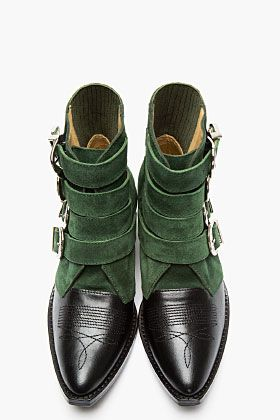 TOGA Green suede & Silver western buckle boot