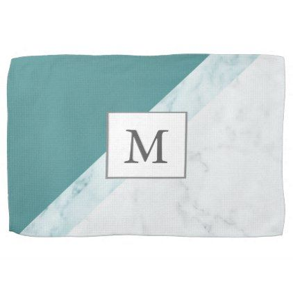 Elegant Seafoam Green With Marble Stripes Monogram Hand Towel
