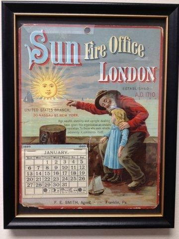Sun Fire Office London Calendar With Bearded Man And Little Girl