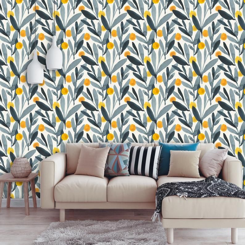 Gray Leaves Removable Wallpaper Yellow Polka Dot Peel And Etsy Removable Wallpaper Wallpaper Watercolor Mural