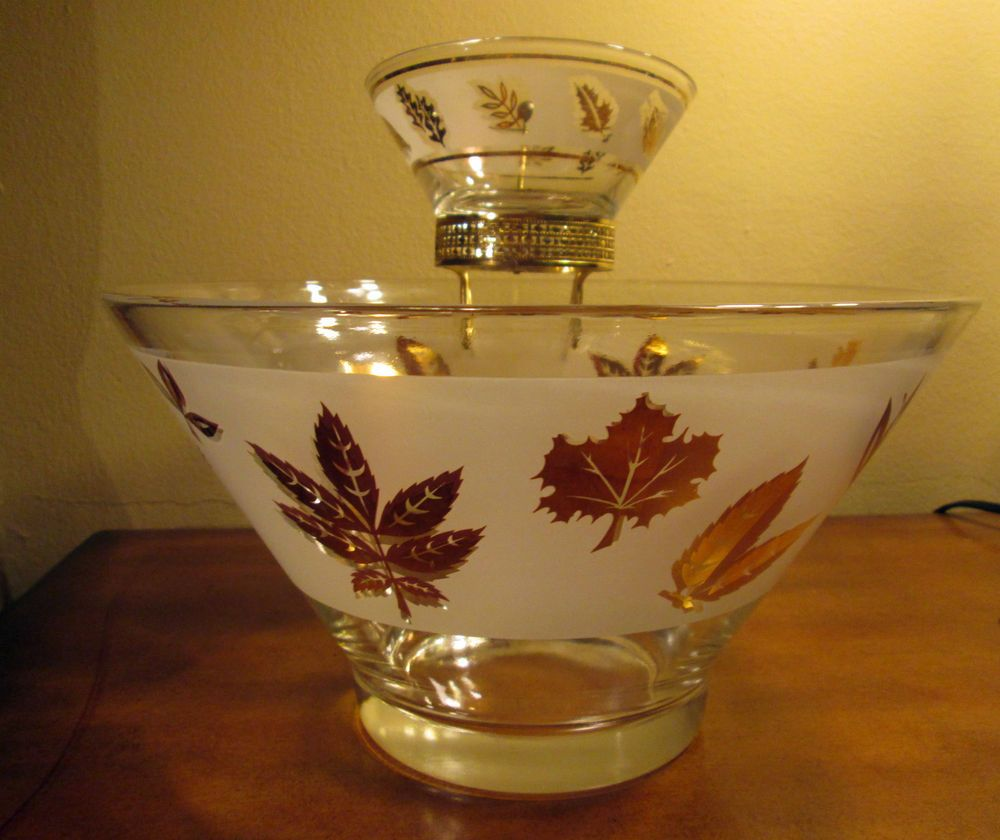 Vintage Libbey Glass Chip And Dip Bowls Gold Leaves 2 Bowl ...