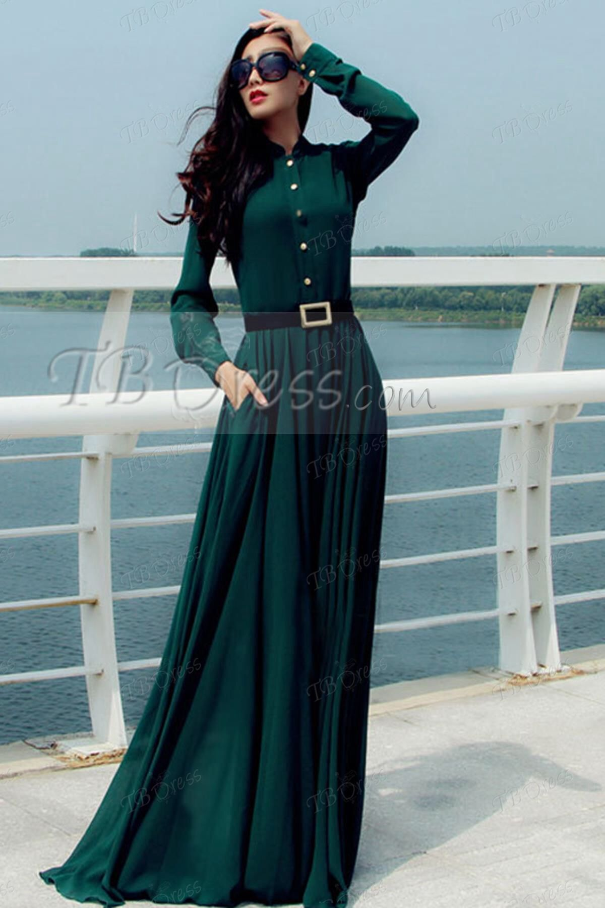 Green long sleeved maxi dress from tbdress modesty is the