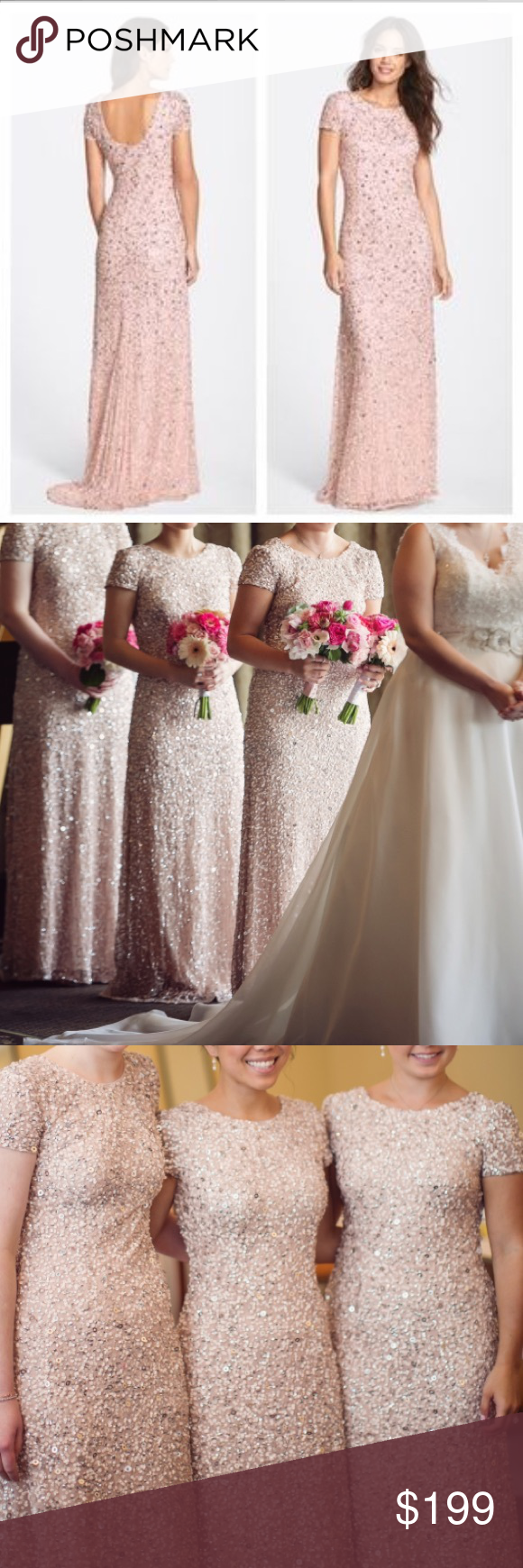 Short Sleeve Sequin Mesh Gown Blush  Indoor wedding Petite sizes