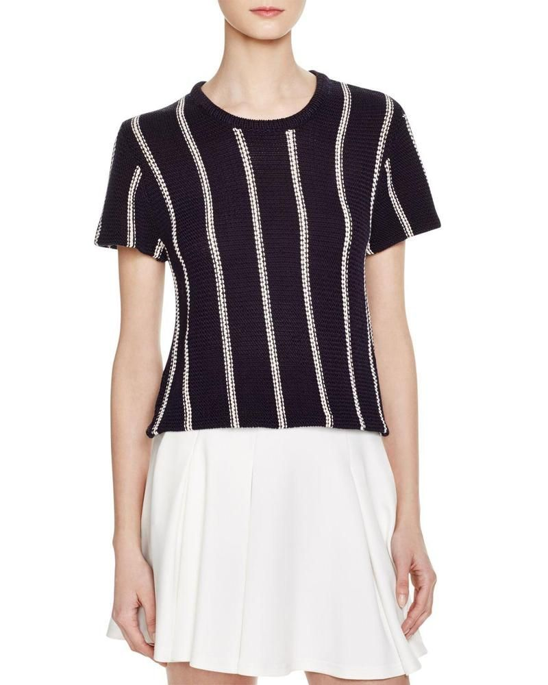 NWT $325 THEORY Emmeris Navy White Striped Short Sleeve Cotton Sweater S Small #Theory #Sweater #Casual