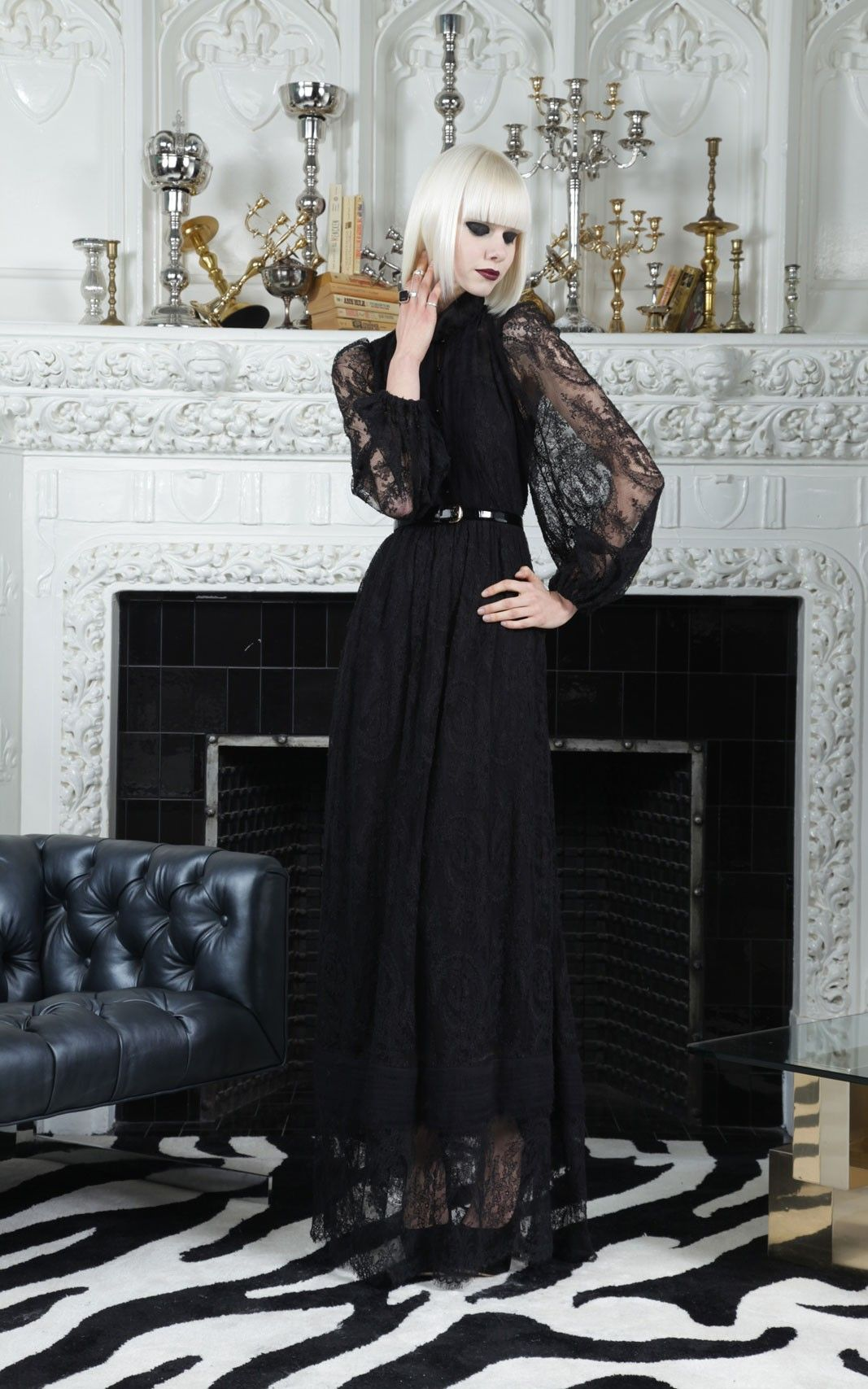 d2ba12d7660d alice + olivia | BAYLEE HIGH NECK LONG SLEEVE MAXI DRESS - Leather + Lace -  Clothing