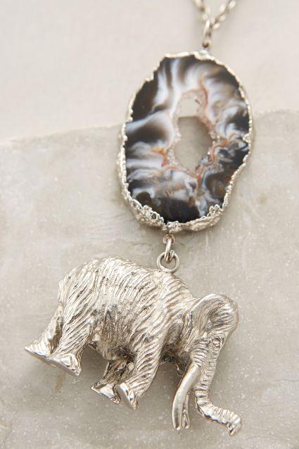 New jewelry arrivals -  #anthroregistry    Druzy Elephant Pendant - anthropologie.com