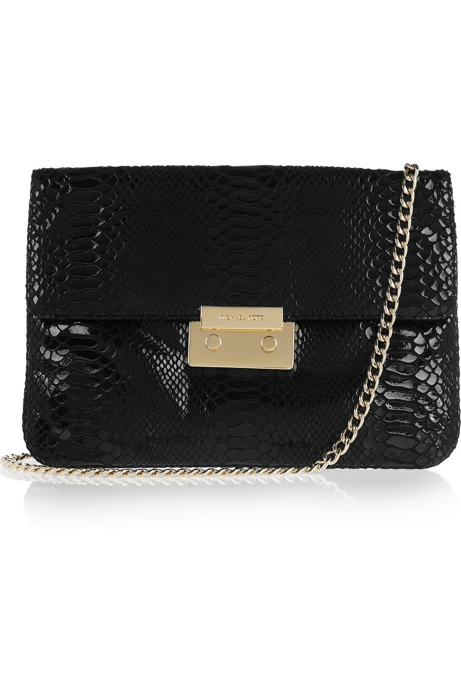 8f21a6a292c3 MICHAEL Michael Kors Sloan python-effect patent-leather clutch - 60% Off  Now at THE OUTNET