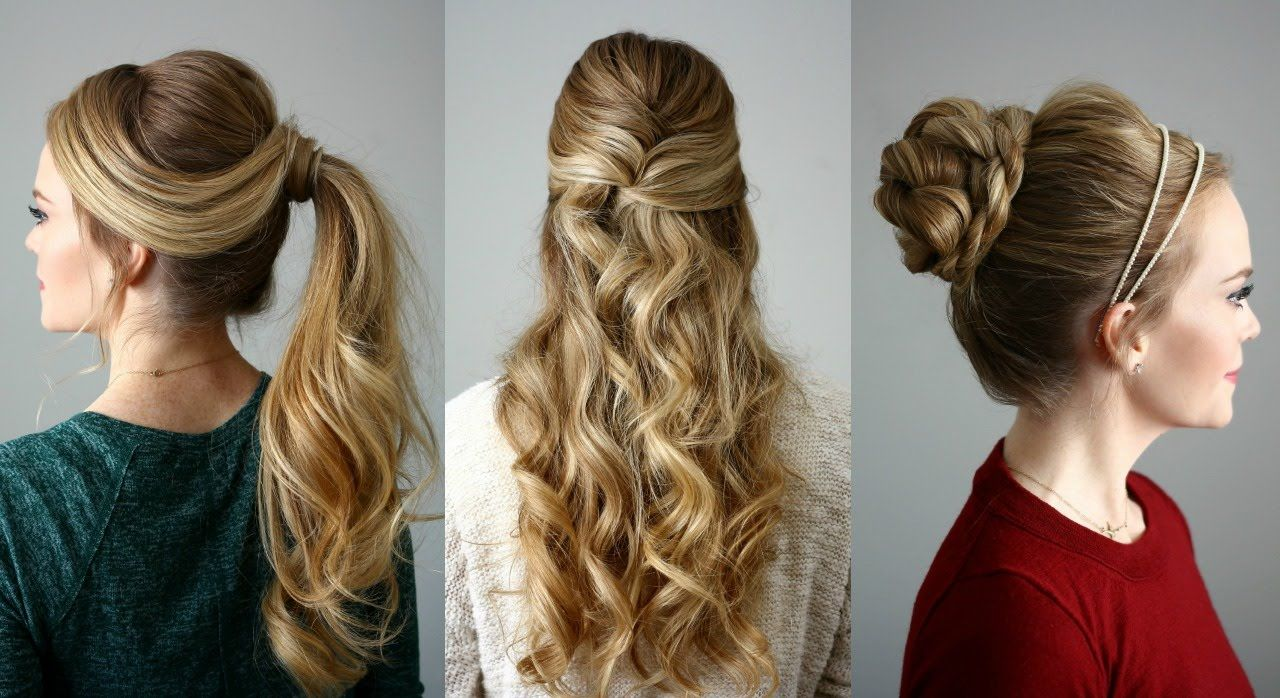 3 holiday hairstyles | missy sue - youtube | beauty | pinterest