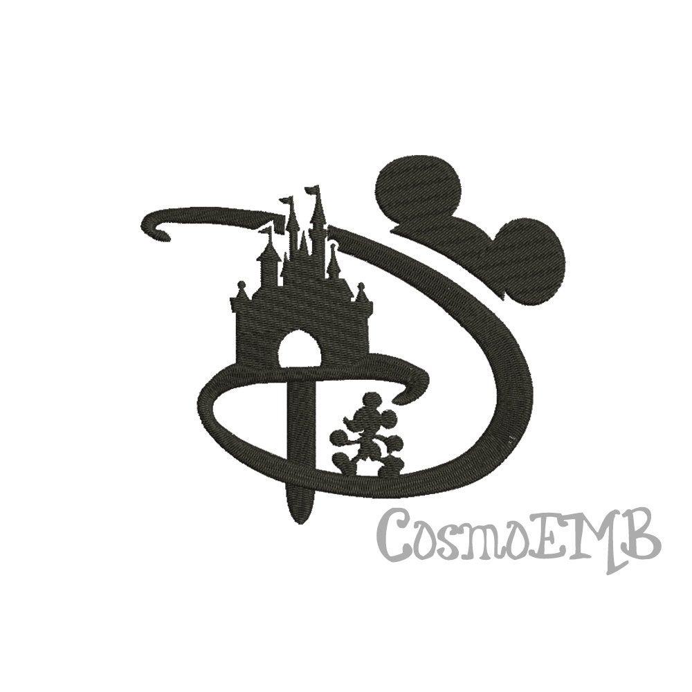 6 Size Mickey Mouse Castle Embroidery design Machine