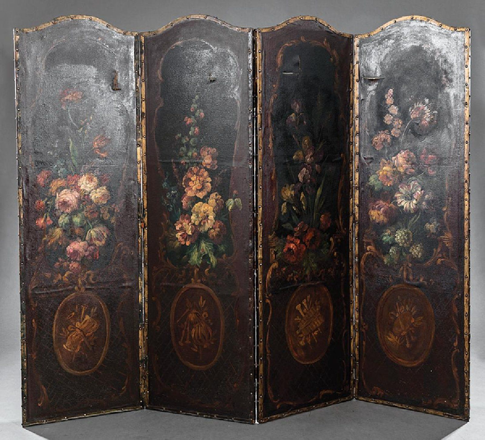 French painted four panel screen paravents fireplace screens french painted four panel screen fireplace teraionfo